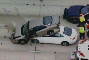 This was not my actual accident, but this is what mine looked like. I was the car underneath. Photo credit: nbcmiami.com